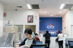 Citibank, Bangkok, Thailand - August 5, 2017: Many people come to financial transactions. After receiving the salary. royalty free stock image