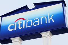 Citibank Logo and Sign at Branch Bank Stock Photo