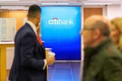 Citibank sign displayed at a branch in Canary Wharf royalty free stock images