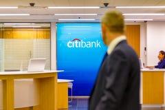 Citibank signent montré à une branche à Canary Wharf Photos stock