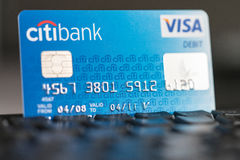Citibank Visa Debit card on a keyboard stock photography