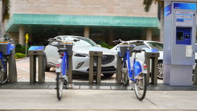 Citibike rental station Downtown Miami stock video footage