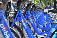Citibike Station. On State Street, Downtown Brooklyn, New York Royalty Free Stock Image