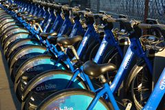 Citibikes of the share and ride in New York City. Citibikes parked at the station for the share and ride program in New York City Royalty Free Stock Photography