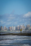 Cities of Brazil - Recife. Recife, the state capital of Pernambuco, in northeastern Brazil, has one of the longest urban beaches in the world: the Boa Viagem Stock Image
