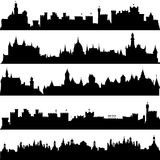 Cities and castles silhouettes Royalty Free Stock Photo