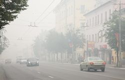 Cities of central Russia in smoke Stock Photo