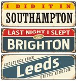 Cities in England retro tin signs collection Stock Photo