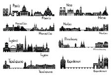 8 cities of France. Vector illustration of silhouettes of capitals of France - Paris, Marseilles, Lyons, Toulouse, Nice,  Nantes, Strasbourg, Bordeaux Stock Images