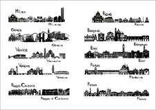 10 cities of Italy  - silhouette signts. Of Milan, Genoa, Venice, Verona, Reggio Calabria, Rome, Bergamo, Bari, Padua, Parma Stock Photo