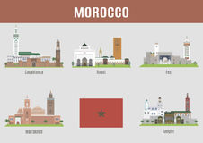 Cities of Morocco. The main famous places and buildings Royalty Free Stock Photo