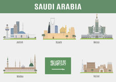 Cities in Saudi Arabia. Famous Places cities vector illustration