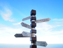 Cities signpost. Cape of Good Hope Royalty Free Stock Image
