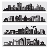Cities silhouette icon royalty free illustration