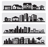 Cities silhouette icon vector illustration