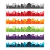 Cities Silhouette Landscape Color Set Vector Stock Photos
