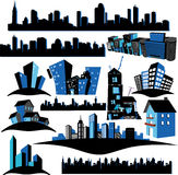 Cities Silhouettes. Many Cities Silhouettes in White Background Stock Photography