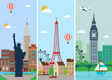 Cities skylines design with landmarks. London, Paris and New York cities skylines design with landmarks. Vector Royalty Free Stock Photography