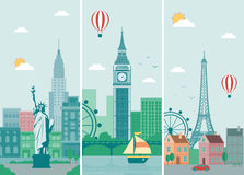 Cities skylines design with landmarks. London, Paris and New York cities skylines design with landmarks. Vector Stock Image