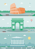 Cities skylines design with landmarks. Rome, Paris and Athens cities skylines design with landmarks. Vector. Illustration Royalty Free Stock Images