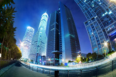 Cities of skyscrapers at night Stock Photos