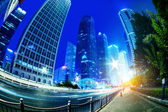 Cities of skyscrapers at night Royalty Free Stock Photography