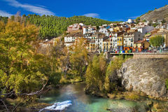 Cities of Spain. Colorful Spain - Cuenca town on cliff rocks Stock Image