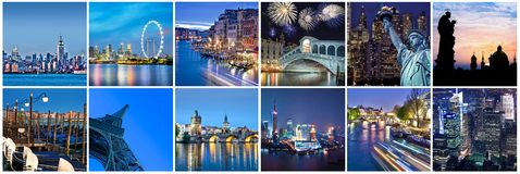 Cities of the word at night, panoramic collage. Cities of the word at night, panoramic photocollage Stock Photos