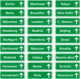 Cities world. Traffic boards of cities in the world Royalty Free Stock Photos