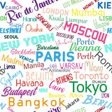Cities of the world- colorful text seamless pattern texture