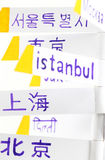 Cities of the world, east, background. A composition with the names of some of the biggest cities of the world, including tokyo, bejing, seoul, delhi, istanbul Stock Images