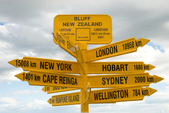 Cities of the World Signpost. Signpost at Bluff New Zealand showing distances to some of the world's major cities.  Bluff is located at the bottom of the South Royalty Free Stock Photography