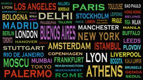 Cities of the world, travel destinations word cloud concept.  vector illustration