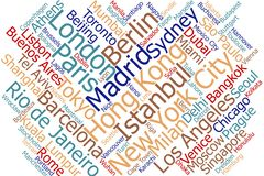 Cities in the world word cloud Royalty Free Stock Images