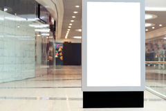 Citilayts with blank screen stands in a megastore Stock Images