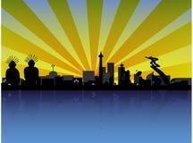 Citiscape Джакарты в силуэте иллюстрация штока