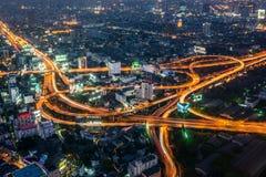 Citiscape de la noche de Bangkok Imagen de archivo libre de regalías