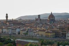Citiscape van Florence met kathedraal en palazzovecchio stock foto's