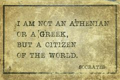Free Citizen Of The World Socrates Stock Photography - 144613722