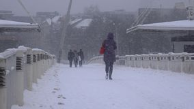 Citizen people walking through urban bridge. Heavy blizzard snow falling stock video