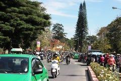 Citizen ride motorbike in rush hour. DALAT, VIET NAM- MARCH 27 Stock Photo