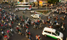 Citizen transport by motorcycles, vietnam Royalty Free Stock Photos
