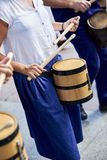 Citizens drumming in Tamborrada of San Sebastian. Basque Country, Spain. San Sebastian, Spain - August 31, 2017. Citizens drumming in Tamborrada, the drum Stock Photo