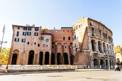 Citizens have turned the Roman ruins in residential buildings in Rome Italy. ROME, ITALY - OCTOBER 30: Citizens have turned the Roman ruins in residential royalty free stock images