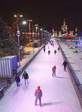 Citizens skate on the skating rink at the VDNH Stock Image