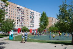 Citizens, square, playground and houses in Novomichurinsk 28.05. Stock Image