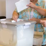 Citizens voting on democratic election. Royalty Free Stock Images