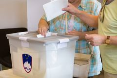 Citizens voting on democratic election. Royalty Free Stock Image