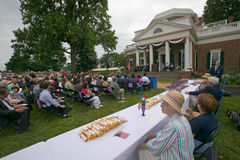 Citizenship documents. For 76 new American citizens receive citizenship papers at Independence Day Naturalization Ceremony on July 4, 2005 at Thomas Jefferson's Stock Photo