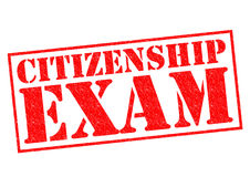 CITIZENSHIP EXAM. Red Rubber Stamp over a white background royalty free stock photos